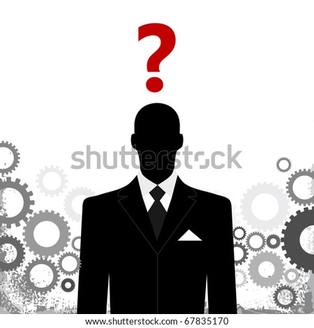 business man with gears and question mark above head