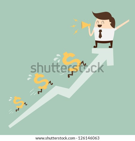 Business man with graph and dollar signs - stock vector