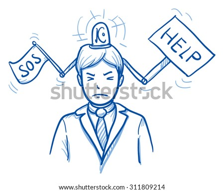 business man with help sign and