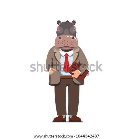business man with hippo head