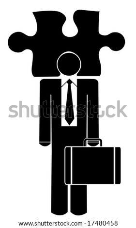 business man with his head in a puzzle