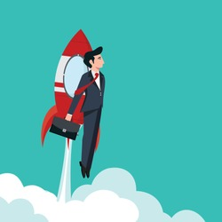 Business man with rocket. Business concept with rocket - Vector illustration.