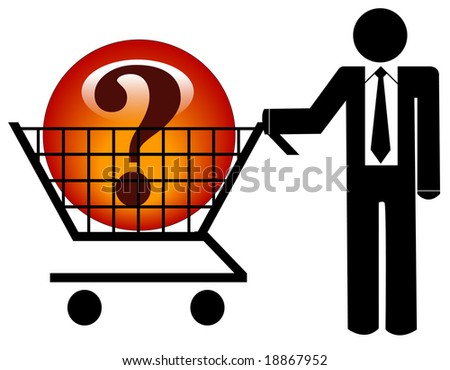 business man with shopping cart looking for solution or answers