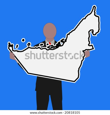 Business man with UAE sign and blue sky illustration