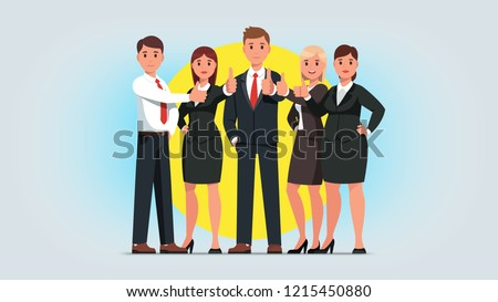 Business man & woman group showing thumb up gesture. Successful business people team characters standing gesturing businessman showing positive feedback. Flat isolated vector illustration