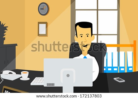 business man working in front of computer at the office