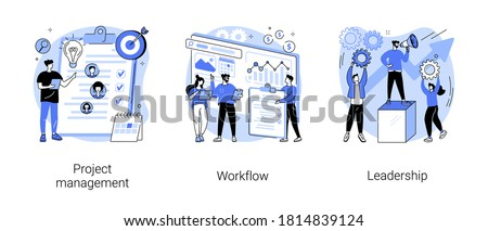 Business management abstract concept vector illustration set. Project management, workflow and leadership, waterfall and agile, development team, productivity software, coaching abstract metaphor.
