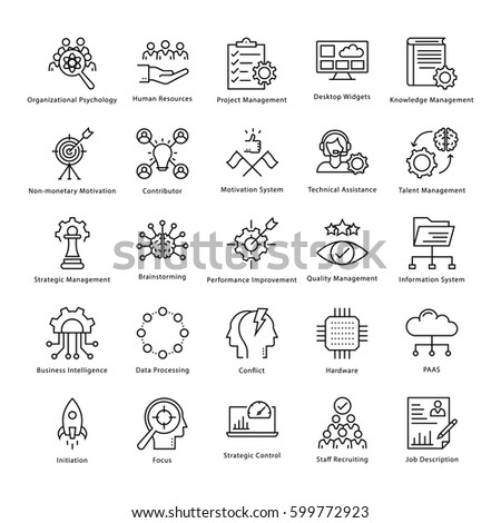 Business Management and Growth Vector Line Icons 24