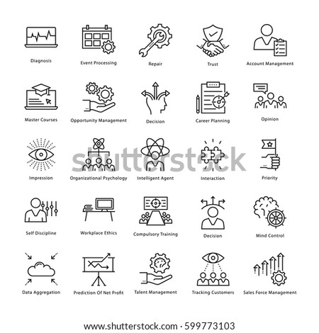 Business Management and Growth Vector Line Icons 45