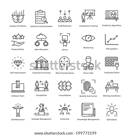 Business Management and Growth Vector Line Icons 23