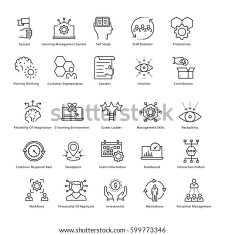 Business Management and Growth Vector Line Icons 46