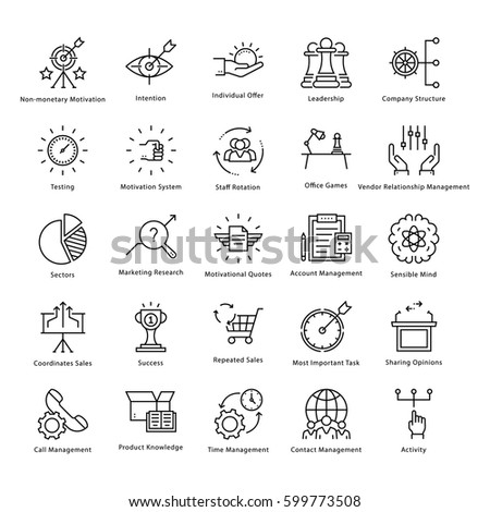 Business Management and Growth Vector Line Icons 44