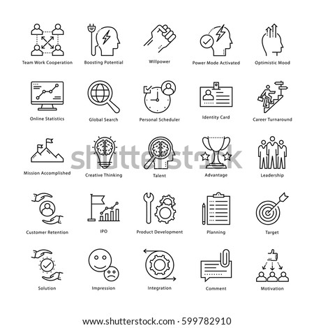 Business Management and Growth Vector Line Icons 2