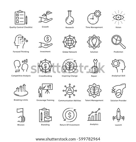 Business Management and Growth Vector Line Icons 1