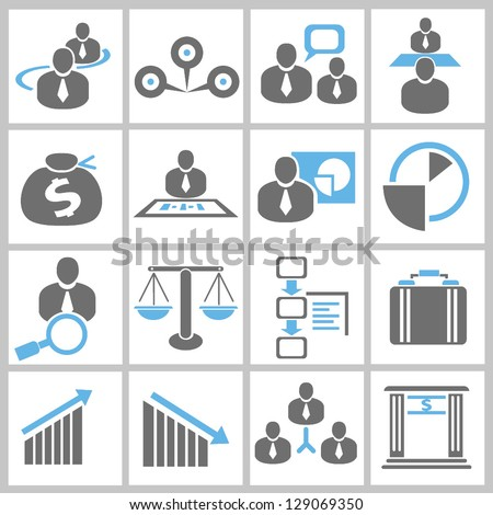 business management and human resource concept icon set