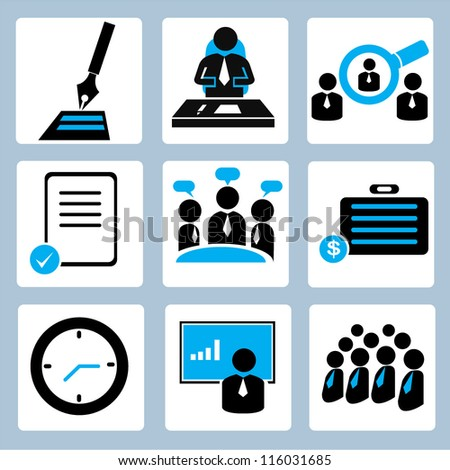 business management and human resource icon set
