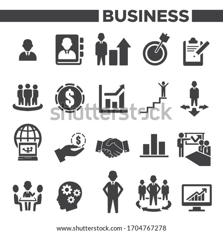 Business, Management and Human Resource Icons Set Illustration