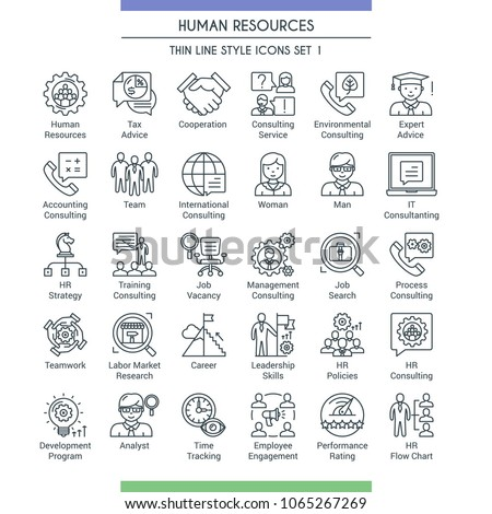 Business management and human resources icons. Modern icons on theme business people, analysis, organization, conference and office working. Thin line design icons collection. Vector illustration