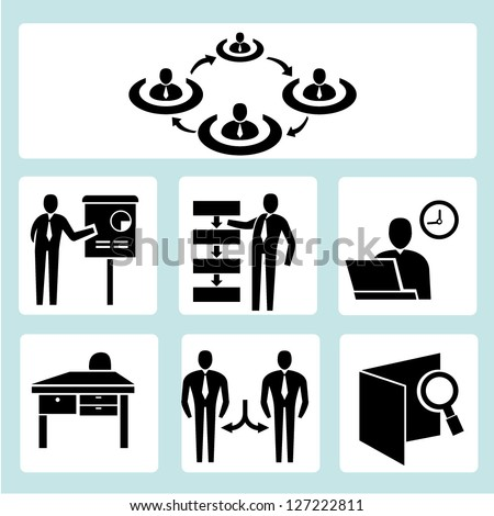 business management, and organization development icon set