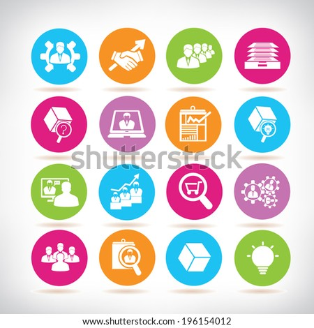 business management and organization management icons, color buttons