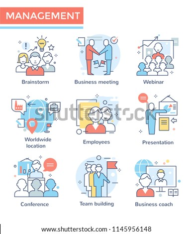 Business management and teamwork icons, thin line,  flat design, color set
