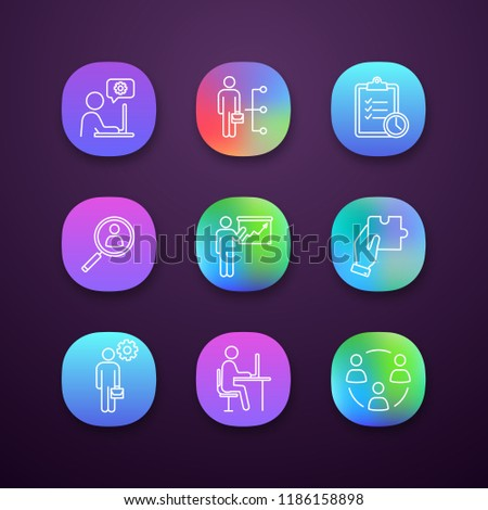 Business management app icons set. UI/UX interface. Technical chat, employee skills, task planning, staff searching, presentation, solution, manager, office, teamwork. Vector isolated illustrations