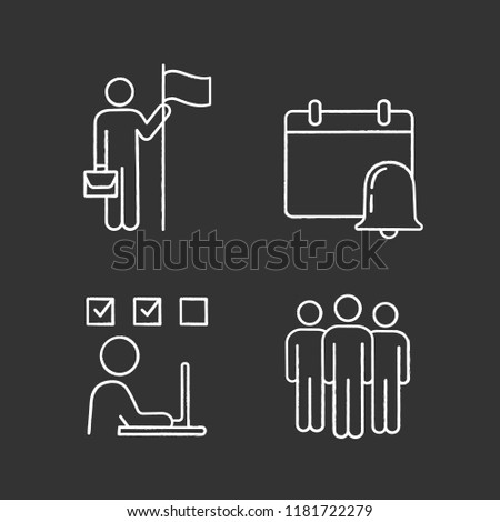 Business management chalk icons set. Achievement, reminder, online test, team. Isolated vector chalkboard illustrations