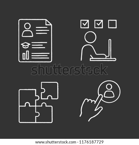 Business management chalk icons set. Resume, online training, solution searching, staff hiring button. Isolated vector chalkboard illustrations