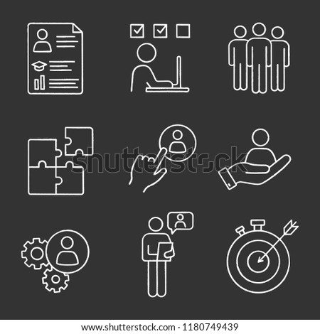 Business management chalk icons set. Resume, task solving, team, solution, staff hiring button, smart goal, online interview, teamwork, person in hand. Isolated vector chalkboard illustrations