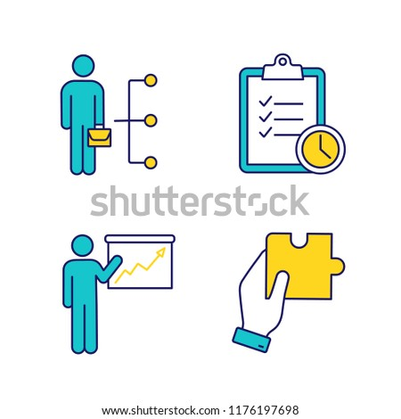 Business management color icons set. Employee skills, time management, presentation, finding solution. Isolated vector illustrations