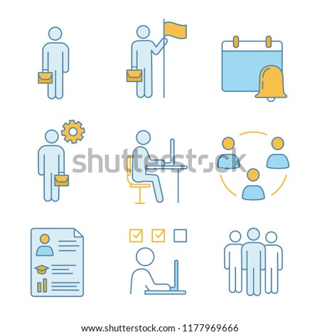 Business management color icons set. Manager, office, partnership, businessman, goal achieving, reminder, resume, task solving, team. Isolated vector illustrations