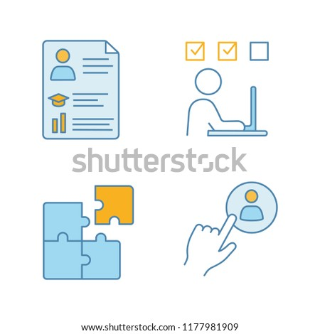 Business management color icons set. Resume, online training, solution searching, staff hiring button. Isolated vector illustrations