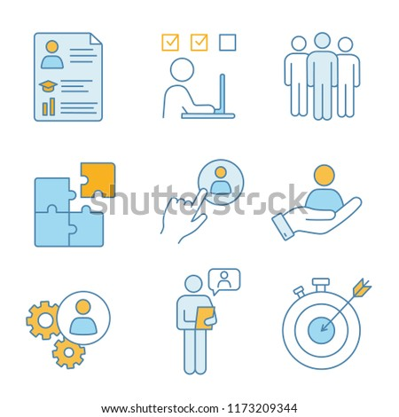 Business management color icons set. Resume, task solving, team, solution, staff hiring button, smart goal, online interview, teamwork, person in hand. Isolated vector illustrations