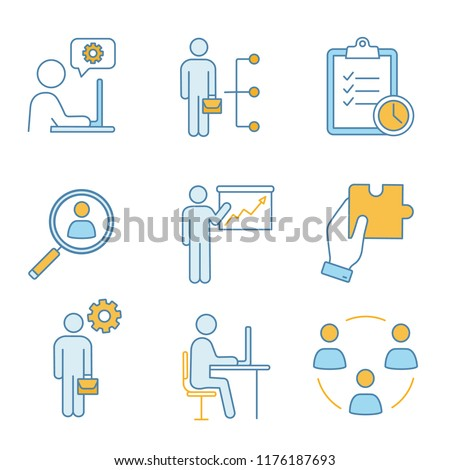 Business management color icons set. Technical chat, employee skills, task planning, staff searching, presentation, solution, manager, office, teamwork. Isolated vector illustrations