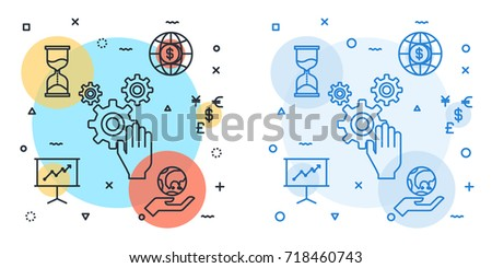 business management concept with line icons set.Business management avatar icon suitable for info graphics.