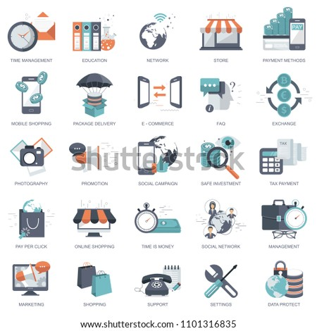 Business, management, finances, pay per click, education icon set for websites and mobile application development. Flat vector illustration