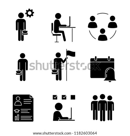 Business management glyph icons set. Manager, office, partnership, businessman, goal achieving, reminder, resume, task solving, team. Silhouette symbols. Vector isolated illustration