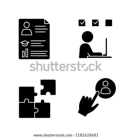 Business management glyph icons set. Resume, online training, solution searching, staff hiring button. Silhouette symbols. Vector isolated illustration