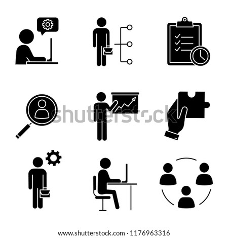 Business management glyph icons set. Technical chat, employee skills, task planning, staff searching, presentation, solution, manager, office, teamwork. Silhouette symbol. Vector isolated illustration