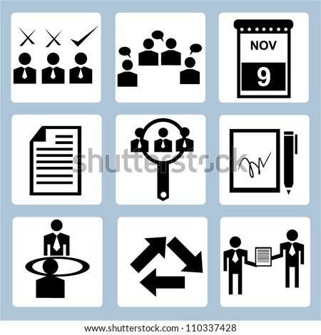 business management icon set and human resource management
