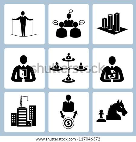 business management icon set, human resource set