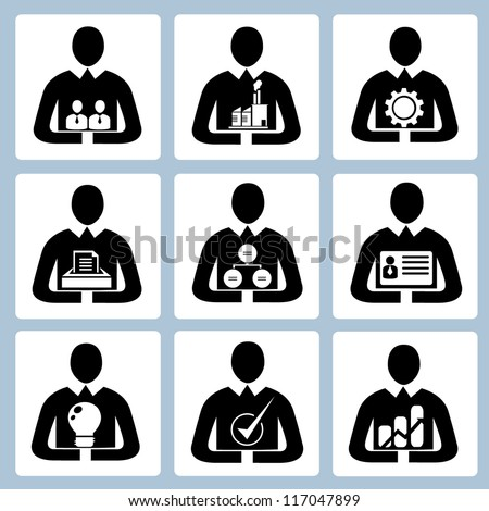 business management icon set, human resource set, person, office people set