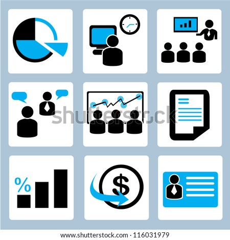 business management icon set, office worker - stock vector