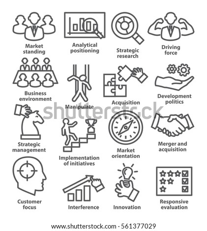 Business management icons in line style. Career progress, strategy and business process.  Pack 27.