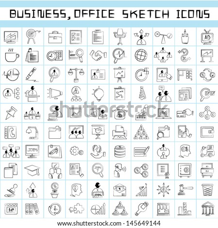 business management icons, office management icons, sketch, drawing line icons set