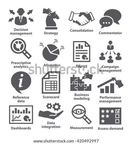 Business management icons. Pack 18.