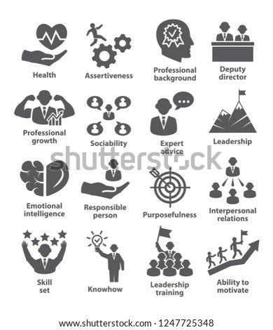 Business management icons. Pack 46. Icons for leadership, director, career.