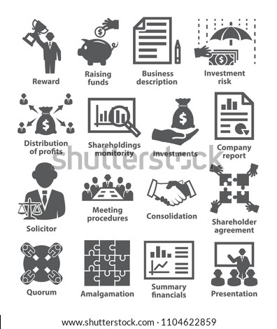 Business management icons Pack 43 on white