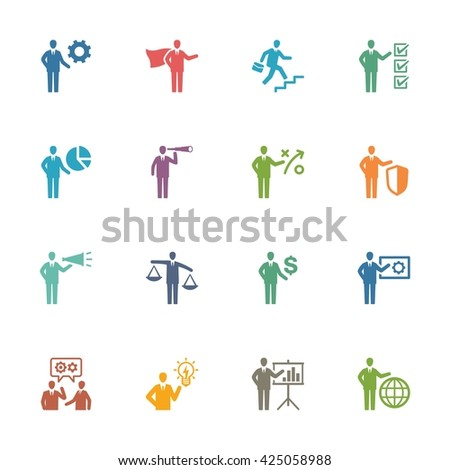 Business & Management Icons Set 2 - Colored Series