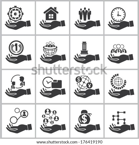 business management icons set, hand holding resource concept